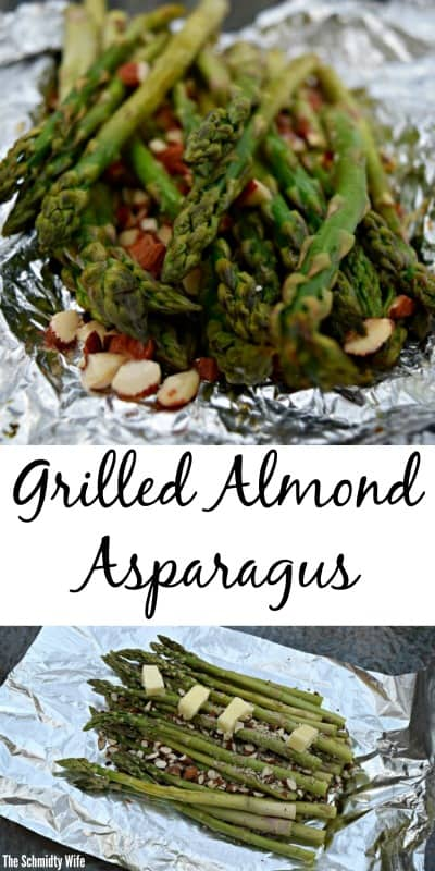 Pinterest Pin for Grilled Almond Asparagus in a foil pack