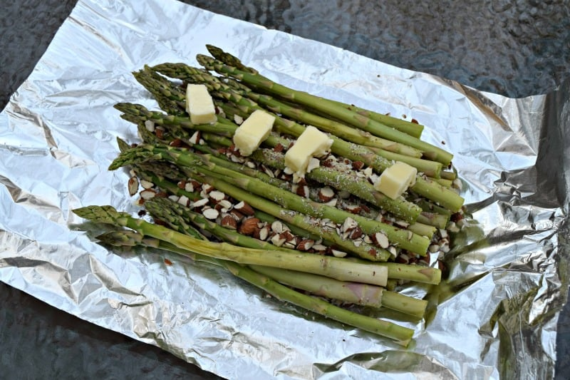 step 3 of grilled almond asparagus