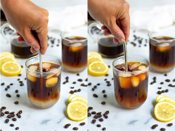 two photos showing the lemonade and coffee being stirred together with a straw