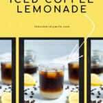 Pinterest Pin showing a photo of a glass of coffee lemonade where lemonade in layered on the bottom and cold brew coffee on top