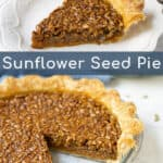 picture of the sunflower seed pie and a slice of sunflower pie