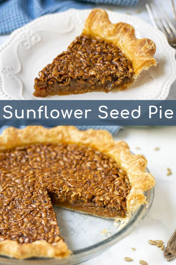 Sunflower Seed Pie is sure to be a crowd pleaser! This nut free pie is a great alternative to pecan pie. Easy to make in a few simple steps this unique sunflower pie is delicious and perfect for the Thanksgiving table. #sunflowerseedpie #nutfree #thanksgivingpies #easy #unique
