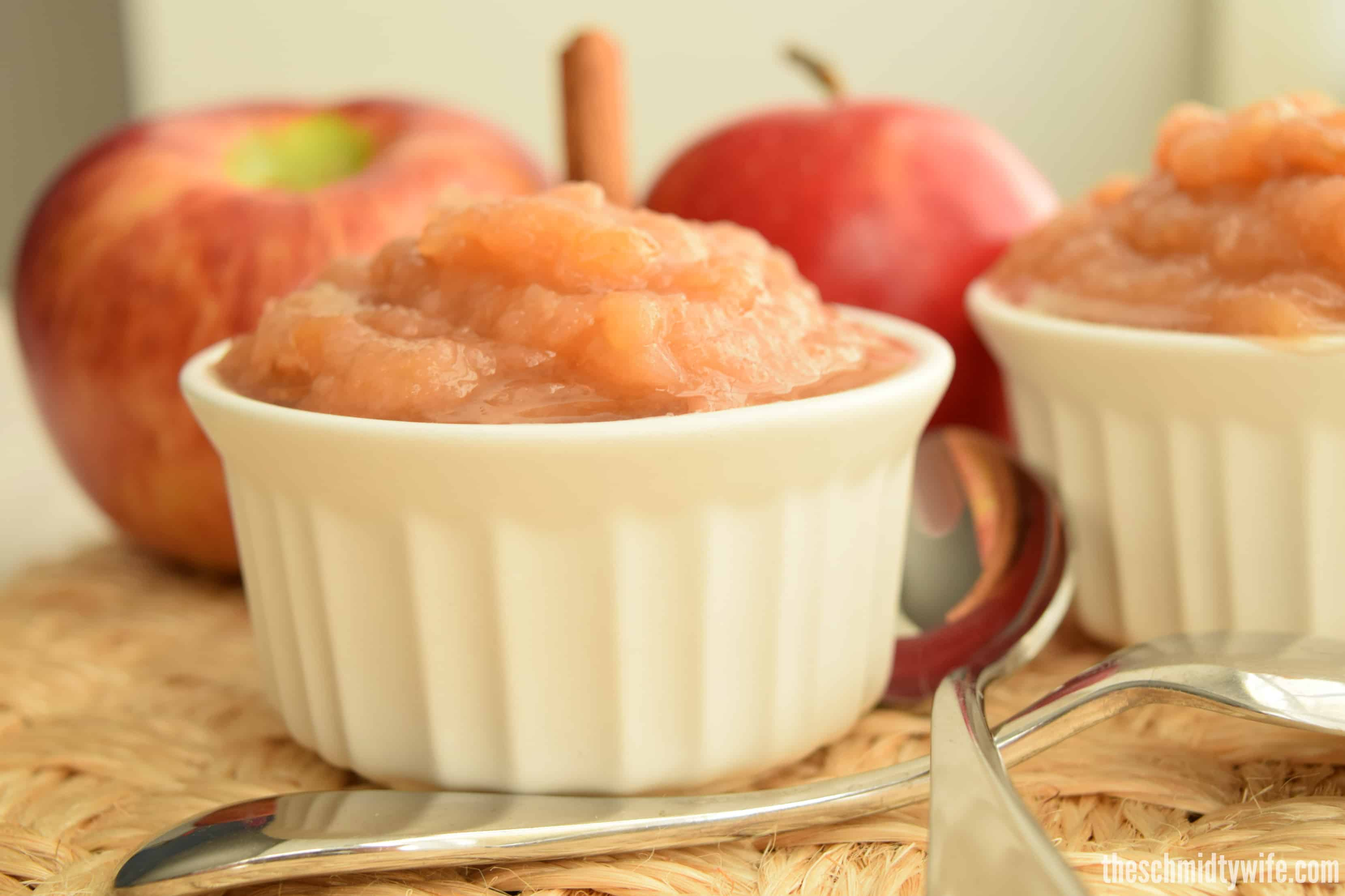 dish full of fresh made applesauce