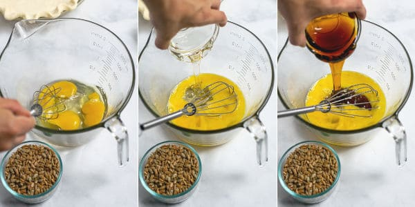steps of mixing eggs, adding corn syrups to the bowl