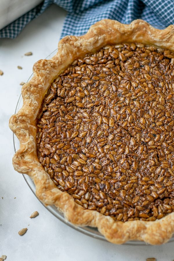 overhead view of a baked sunflower seed pie