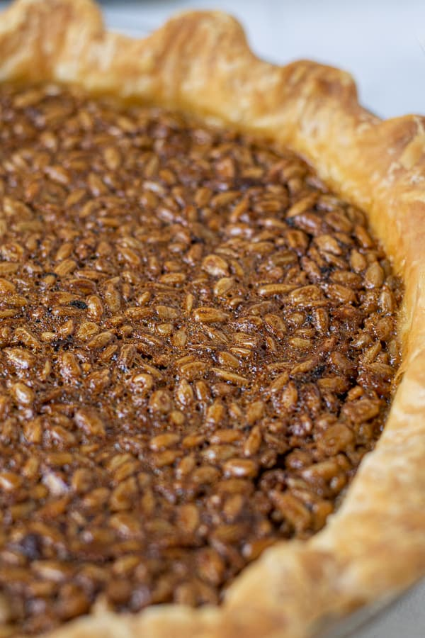 close up of the sunflower seeds baked into the pie