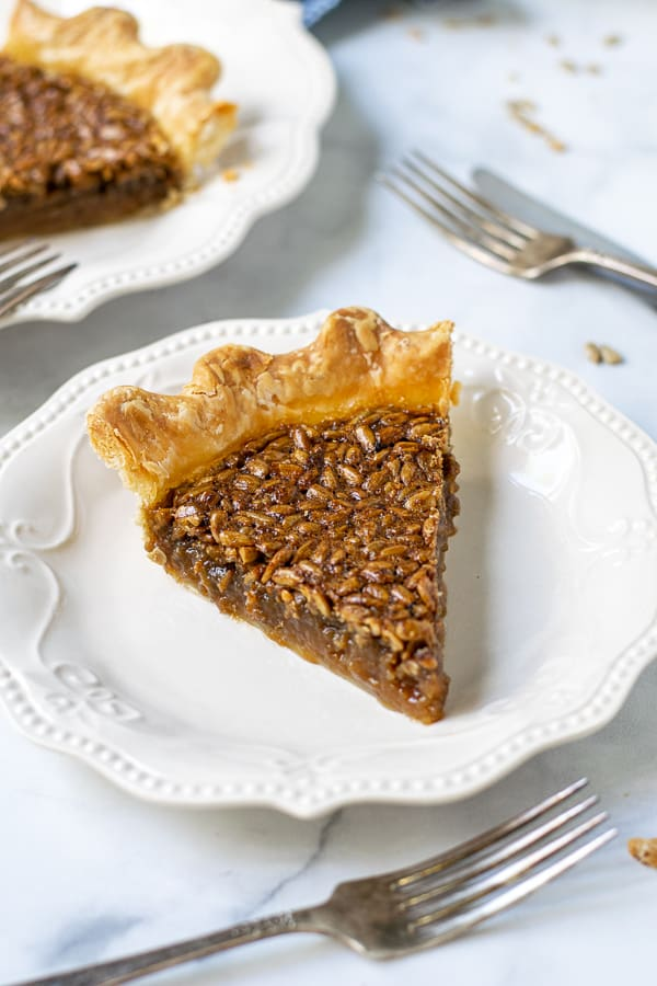 slice of sunflower seed pie on a white plate