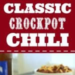 Classic Crockpot Chili in a white bowl with crackers