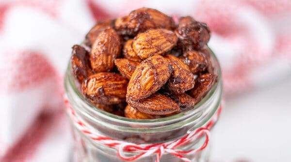 almonds in a jar with a red bow