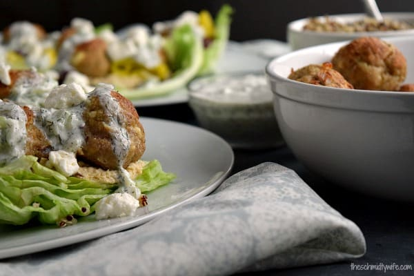 Greek Turkey Meatball Lettuce Wraps