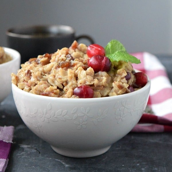 Fresh Cranberry Date Oatmeal in a white bowl