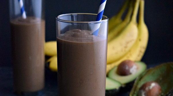 close up of Chocolate Avocado Smoothie