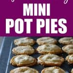 Leftover Turkey Mini Pot Pies in a muffin tin and on a plate