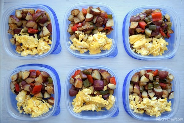 six containers of Roasted Potato Breakfast