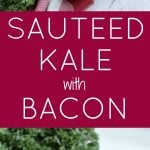 white bowl full of sauteed kale and bacon