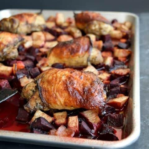 Sheet Pan Chicken Dinner featuring winter produce