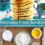 ingredient picture and picture of a stack of pancakes