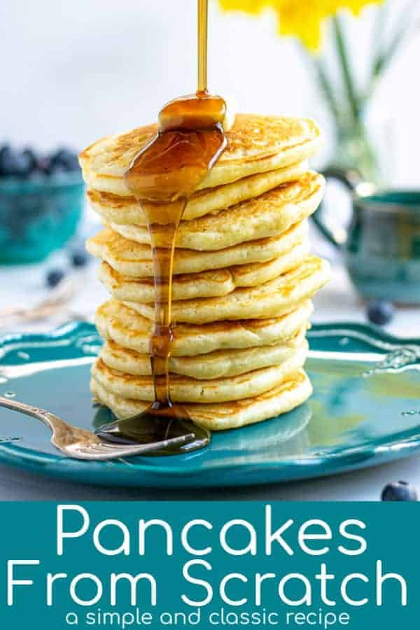 The world's most perfect Pancakes From Scratch Recipe. This classic American breakfast is best when homemade and this easy & simple recipe for how to make pancakes from scratch as got you covered. So good you will be making this for your family every weekend! theschmidtywife.com #easy #fluffy #pancakes #best #homemade #howtomake #recipe #vanilla #breakfast