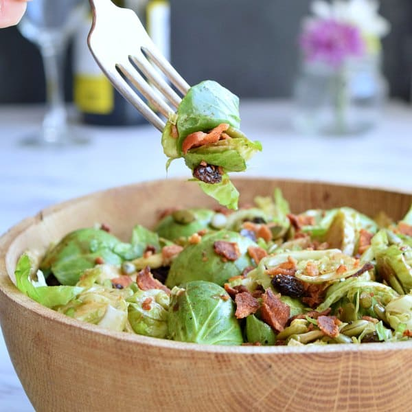 Balsamic Brussel Sprout Salad on a fork