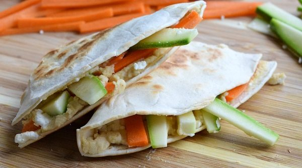 Close up of a Hummus Quesadilla with Feta and Vegetables
