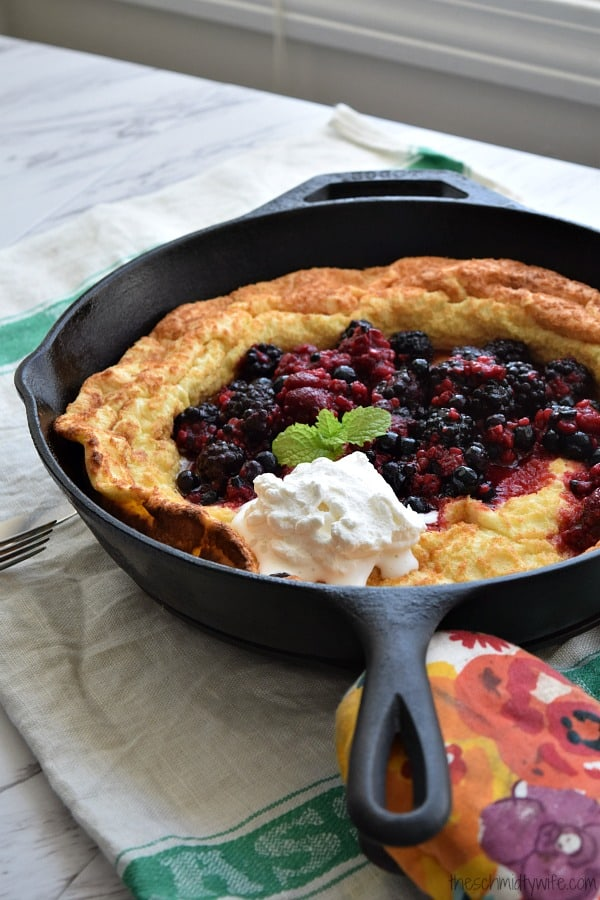 Lemon Dutch Baby with Berry Compote and Whipped Cream