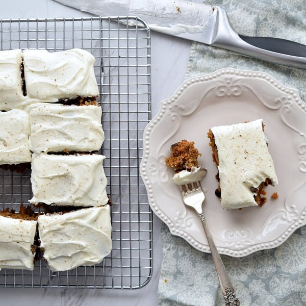 a piece of Orange Carrot Cake with cream cheese frosting