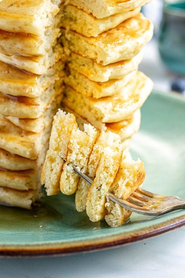cut pancake on a fork