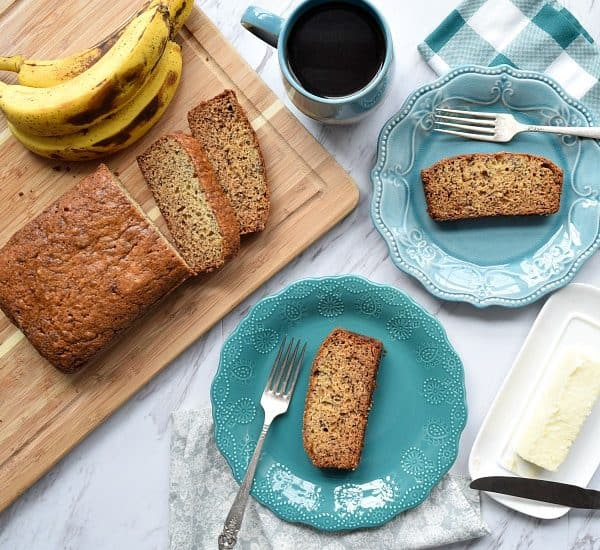 Great Grandma's Banana Bread on two blue plates