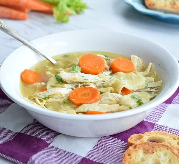 Homestyle Crockpot Chicken Noodle Soup in a white bowl