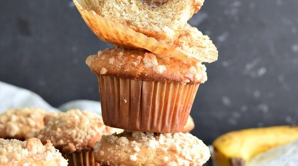 stack of 3 Banana Foster Filled Banana Muffins