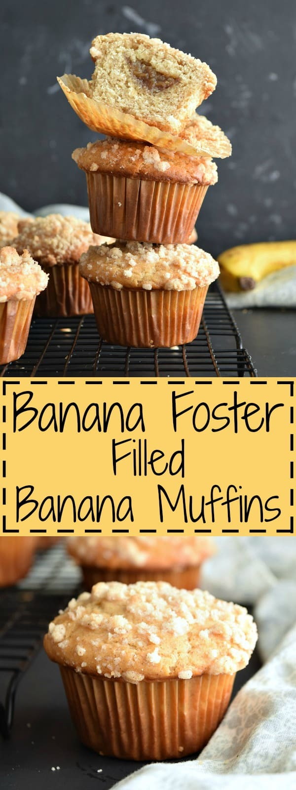 Banana Foster Filled Banana Muffins