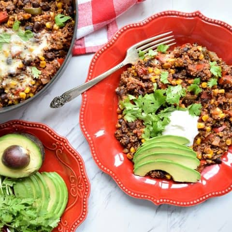 One Pot Southwest Quinoa on a red plate
