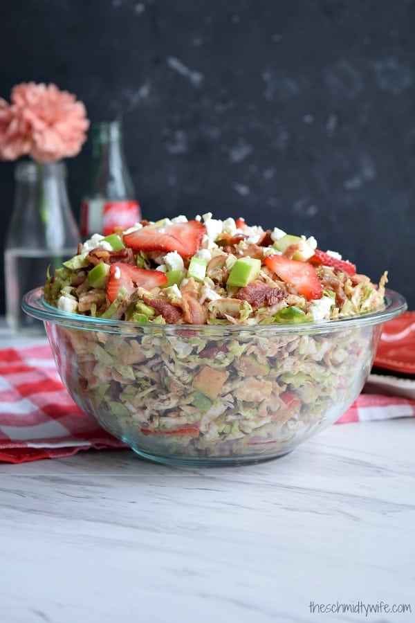 Shaved Brussel Sprout Salad with Strawberries