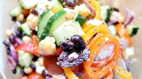 Two Bean Mediterranean Salad up close on a spoon