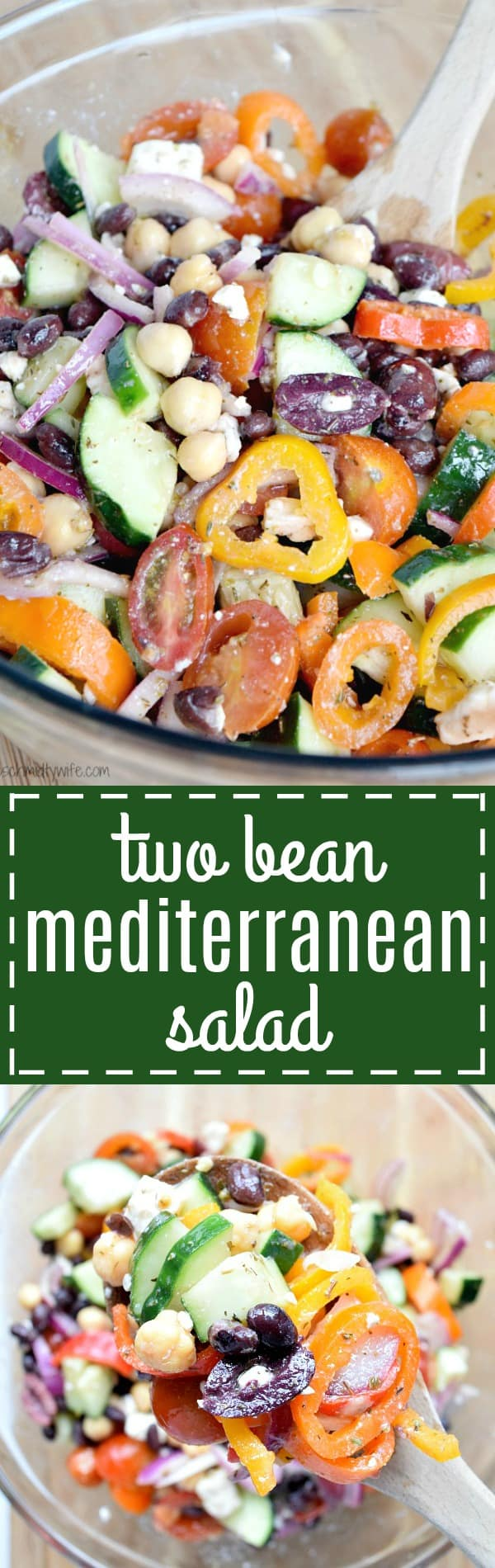 Two Bean Mediterranean Salad perfect for a summer picnic or bbq