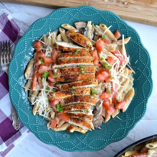 plate with Healthier Cajun Chicken Pasta