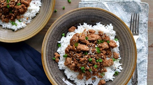 overhead view of two bowls of Korean Turkey over rice