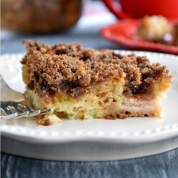 Rhubarb Coffee Cake on a plate