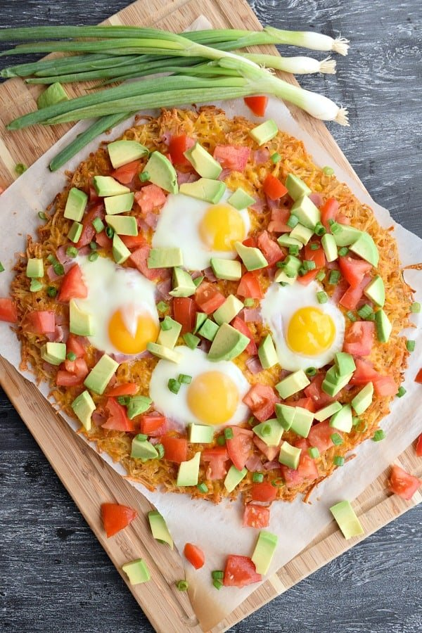 Overhead of California Hashbrown Breakfast Pizza