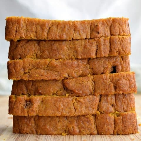 Pumpkin Bread slice in and stacked