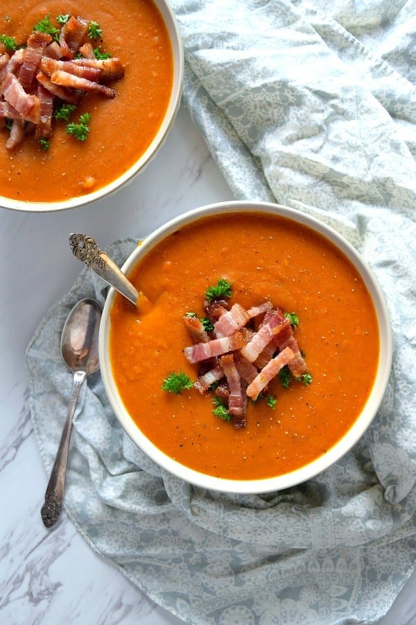 Overview of Roasted Butternut Squash & Carrot Soup with spoon
