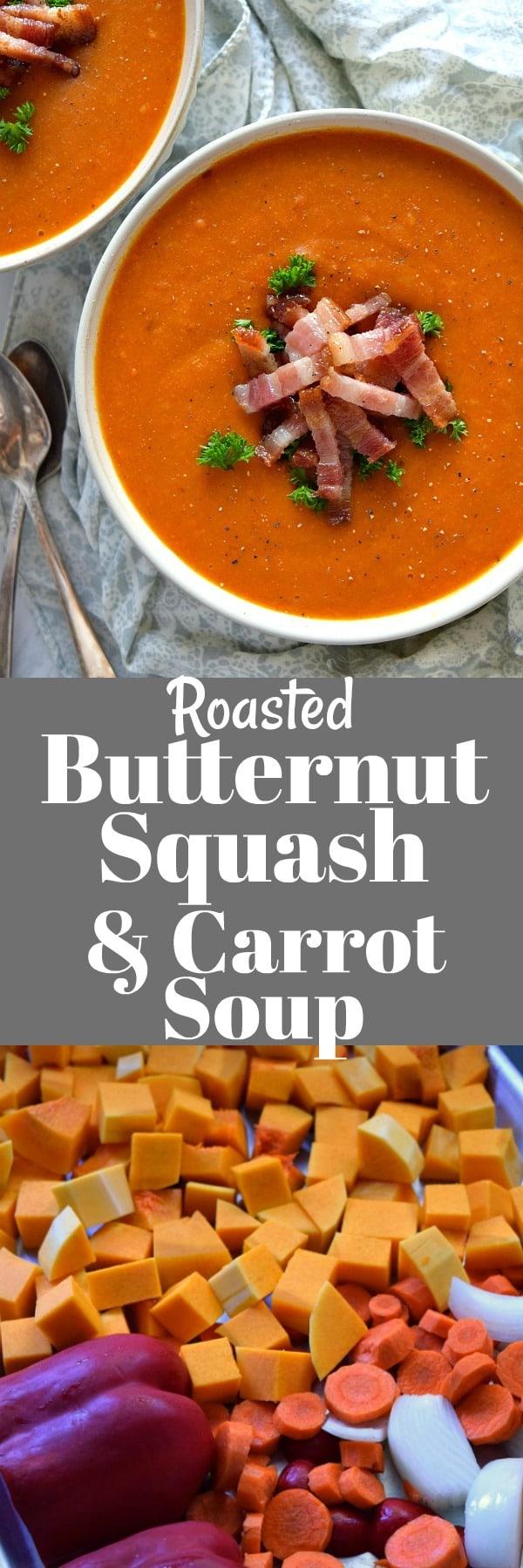 Roasted Butternut Squash & Carrot Soup Pinterest Pin #soup #butternutsquash