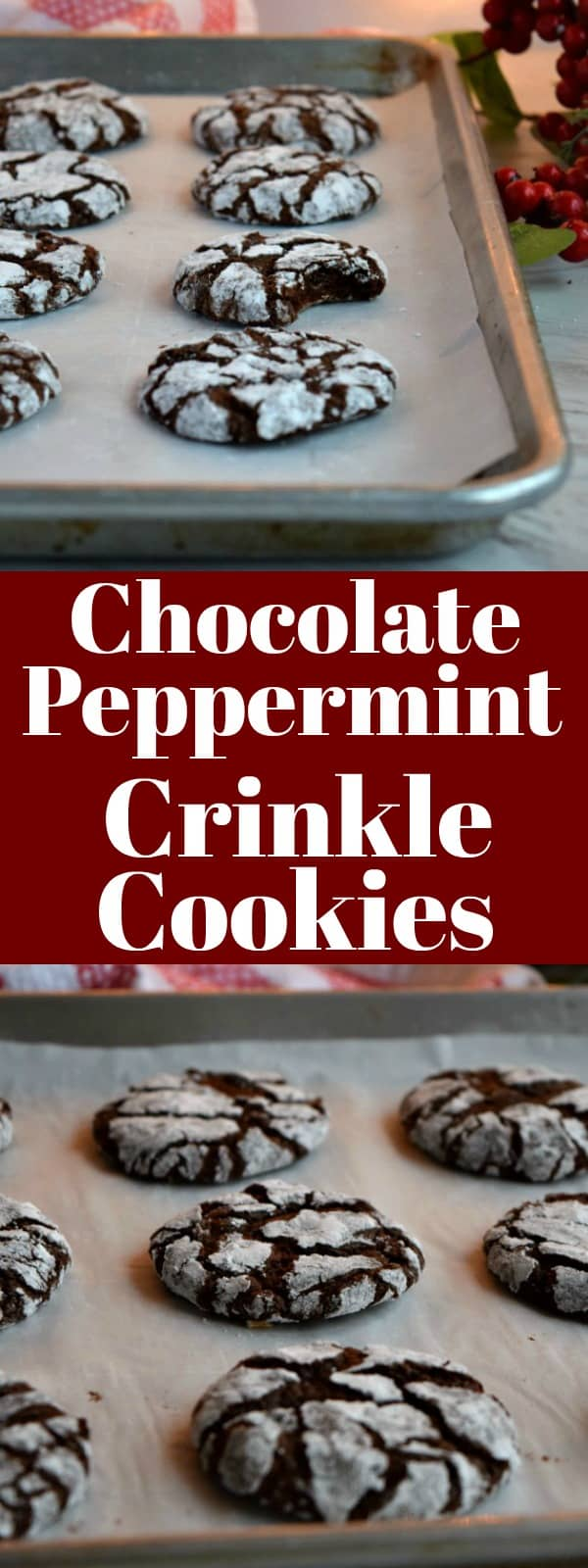 Chocolate Peppermint Crinkle Cookies Pinterest Pin #cookies #christmascookies #chocolate
