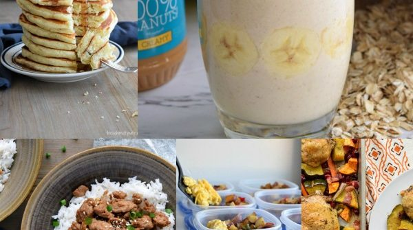 images of pancakes, banana smoothie, korean ground turkey, meal prep potato breakfast, and one pan fall dinner
