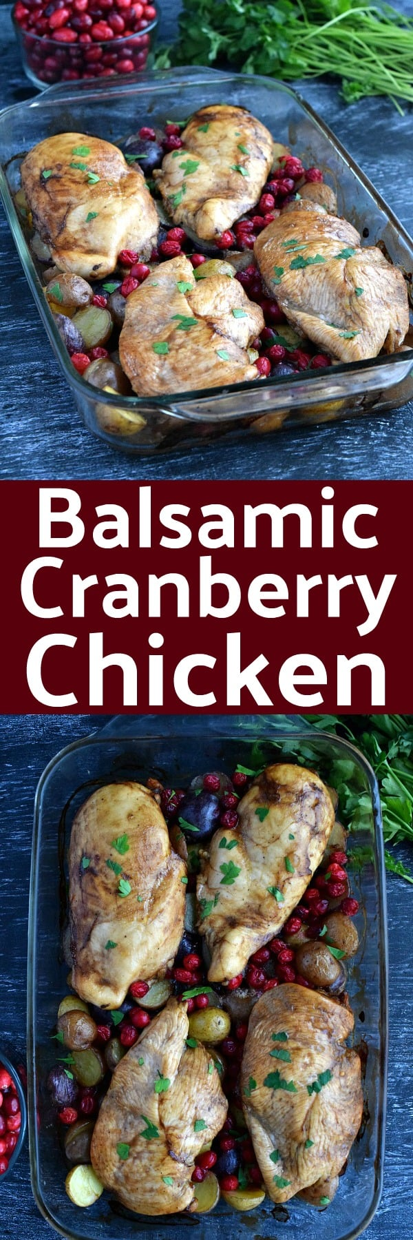 Balsamic Cranberry Chicken Pinterest Pin #chicken #cranberry #dinnerideas