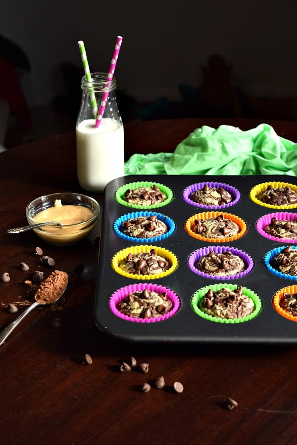 Muffin pan full of Chocolate Peanut Butter Black Bean Muffins