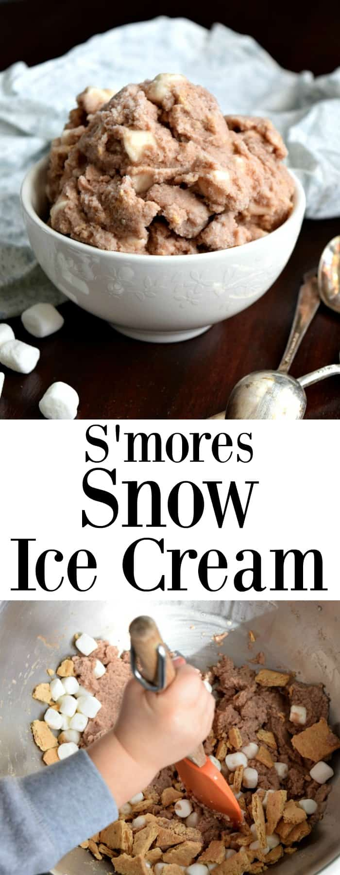 S'mores Snow Ice Cream Pinterest Pin #snow #snowday #icecream #snowicecream