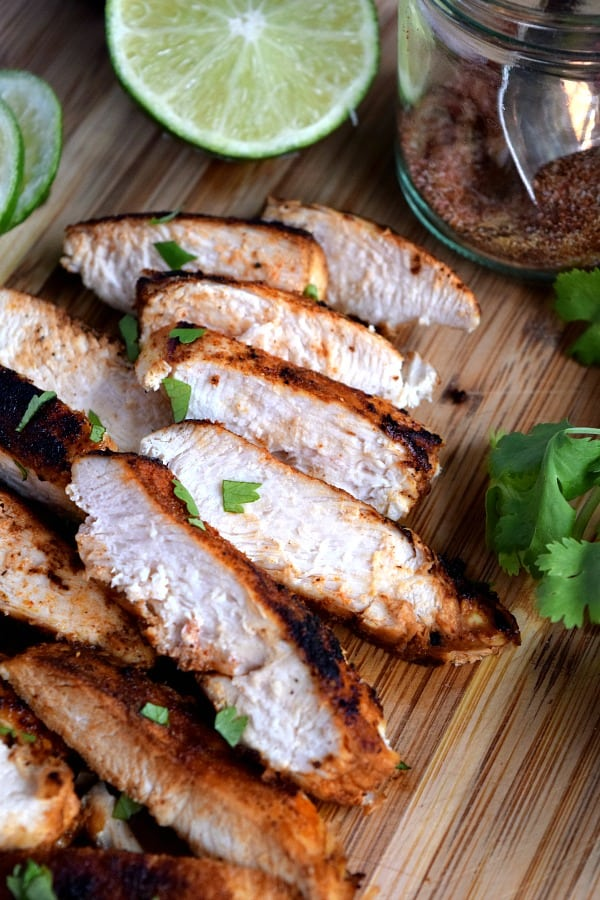 close up of sliced southwest chicken sprinkled with cilantro