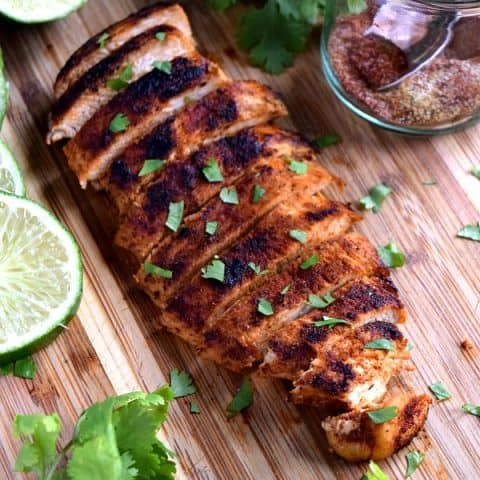 Southwest Chicken breast sliced on a cutting board