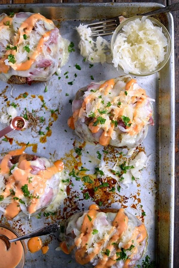 Reuben Stuffed Baked Potatoes close up on a sheet pan